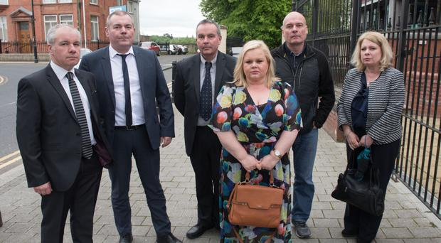 The sons and daughters of Brigid Cavanagh outside Limavady Court where an inquest into the death of their mother is taking place. From left, Peter, Vincent, Paul, Sylvia, Thomas and Ellen Cavanagh