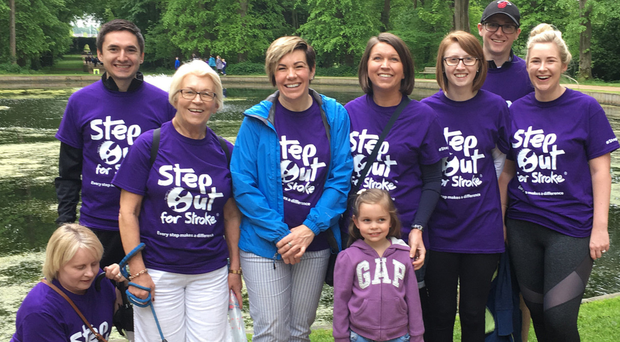 Clodagh Dunlop (blue coat) flanked by her mum Margaret and sister Diane at yesterday's Step Out For Stroke walk