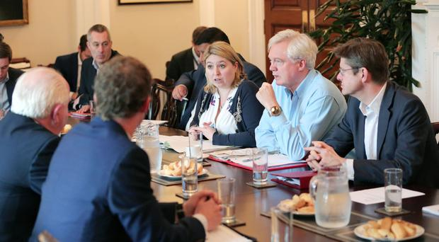 From left: Secretary of State Karen Bradley, Brexit Secretary David Davis and Business Secretary Greg Clark meeting Northern Ireland business leaders yesterday