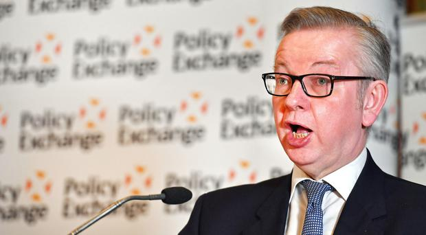 Michael Gove speaks at a Policy Exchange conference (John Stillwell/PA)