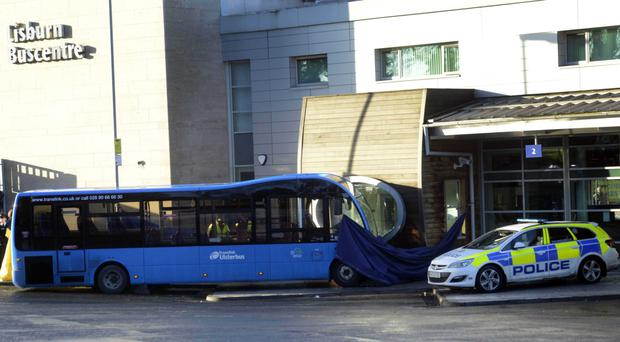 The scene of the crash at Lisburn bus station, in which Linda Stewart died