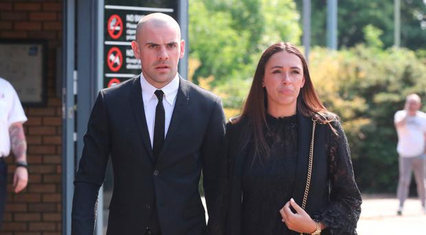 Darron Gibson and his wife Danielle leaving South Tyneside Magistrates' Court