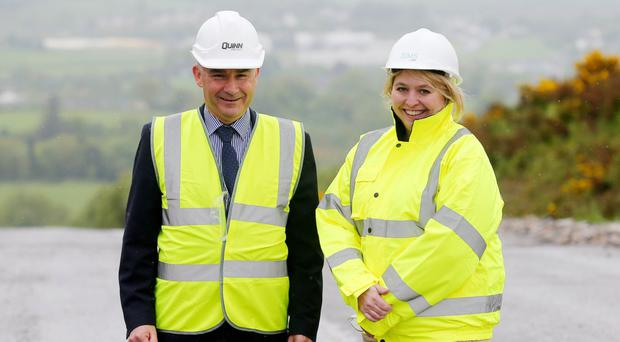 Ms Bradley with Liam McCaffrey, chief executive of Quinn Industrial Holdings