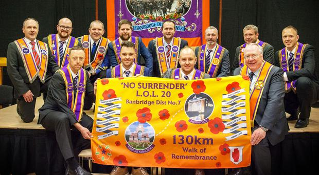 Banbridge Orangemen with Grand Secretary Rev Mervyn Gibson (front right)