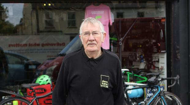 Retailer Dave Kane outside his bike shop