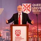 Labour leader Jeremy Corbyn delivers a lecture in the Great Hall at Queen's yesterday