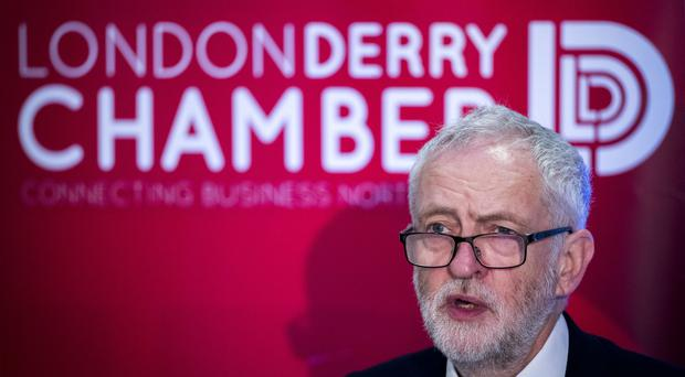Labour leader Jeremy Corbyn speaking in Londonderry (Liam McBurney/PA)