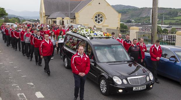 The funeral service for Karl Heaney took place at St Mary's Church yesterday