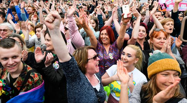 Supporters celebrate at Dublin Castle following the referendum result on the 8th amendment