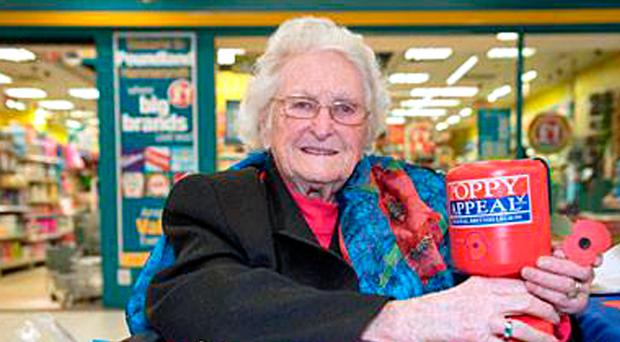 Veteran British Legion fundraiser Rosemary Powell collecting in London aged 103