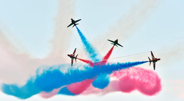 The Red Arrows performing at the Portrush Air Show