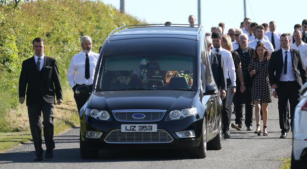 The funeral of Gary Lennon takes place at the Church of the Immaculate Conception, Aughlisnafin, Castlewellan