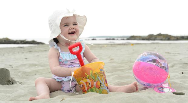 Emily Ava Alexander enjoying the sunny day at Kilclief beach in Co Down
