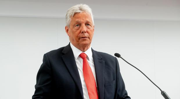Peter Robinson delivers his first public lecture at Queen's University Belfast (Queen's University Belfast/PA)