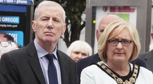 Gregory Campbell MP and Sinn Fein mayor Brenda Chivers at yesterday's memorial service for victims of IRA bomb in Coleraine in 1973