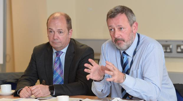 Chief Medical Officer Dr Michael McBride and permanent secretary Richard Pengelly providing an update last month on action being taken following the recall of neurology patients by the Belfast Health and Social Care Trust