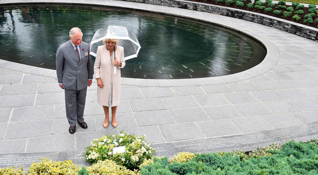 The Prince of Wales laying a wreath with the Duchess of Cornwall