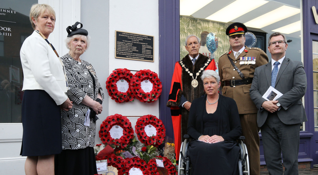 From left: High sheriff, Ms Gillian Bingham; lord lieutenant Mrs Joan Christie CVO OBE; Lisburn and Castlereagh mayor Uel Mackin; Andrea Brown who was injured in the bomb, Colonel Rob Lyndsay, 38th Irish Brigade and Sir Jeffrey Donaldson MP at the memorial