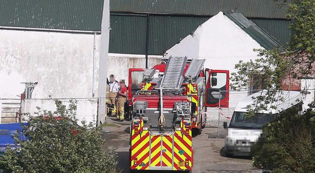 Emergency services at the scene on the Ballyhanedin Road near Claudy
