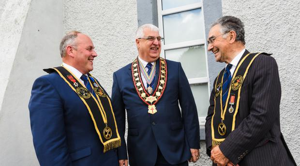 Rev William Anderson (centre) with imperial grand registrar Billy Scott (right) and imperial grand treasurer David Livingstone following the meeting of the institution's grand council in Co Monaghan