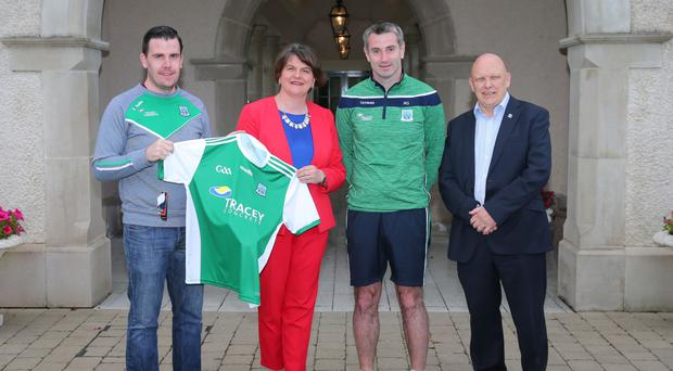 DUP leader Arlene Foster with members of Fermanagh GAA Phil Flanagan, Rory Gallagher and Tom Boyle