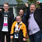 Triple bronze medallist in gymnastics Sophie Carson, from Donaghadee, with her brother Ryan, mother Sharon and father Gary in Dublin