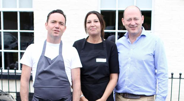 Head chef Brian McCann at Shu with business partner Alan Reid and journalist and trainee chef for the day Claire McNeilly