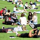 People enjoying the warm weather at Botanic gardens. Pic by Peter Morrison