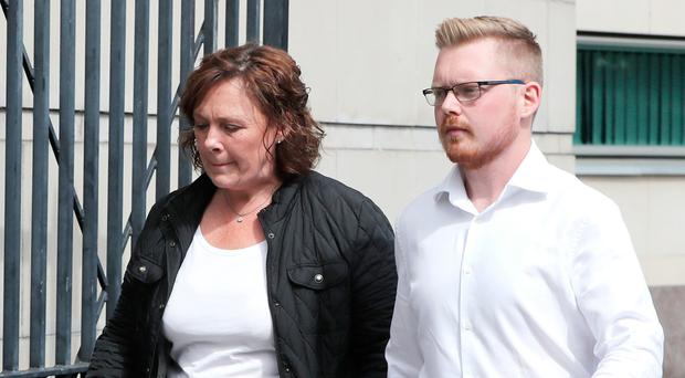 David Black's widow Yvonne and son Kyle leave court yesterday