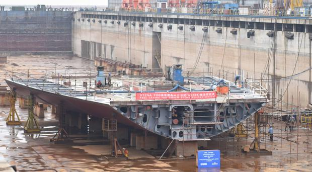 One of two new E-Flexer RoPax ferries destined for the Belfast-Liverpool route in 2020 has had its official keel-laying at the AVIC shipyard in Weihai, China