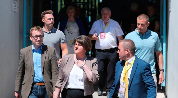 DUP leader Arlene Foster arrives at the Ulster final between Fermanagh and Donegal at Clones