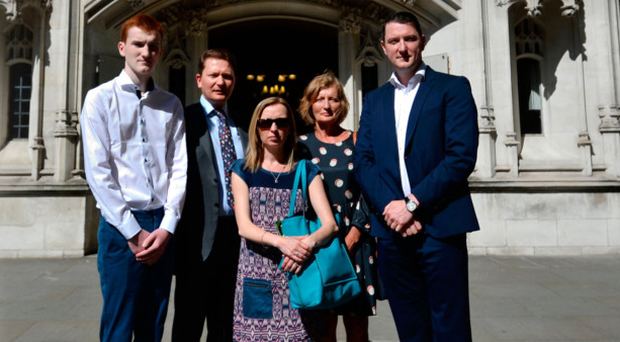 Piaras, Michael, Katherine, Geraldine and John Finucane outside the Supreme Court in London yesterday
