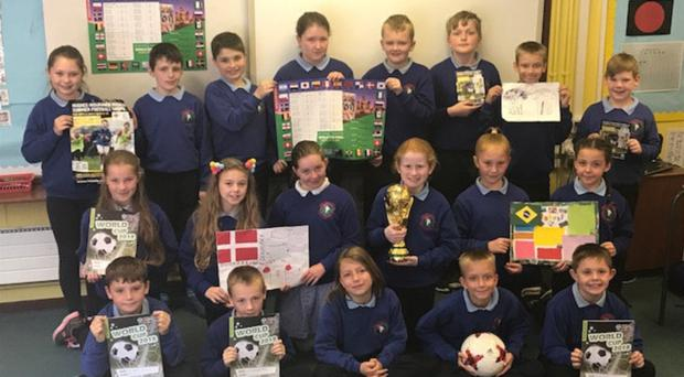 Tempo Primary pupils with their World Cup project