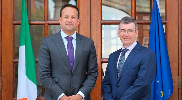 Drew Harris with Taoiseach Leo Varadkar at Government Buildings in Dublin yesterday