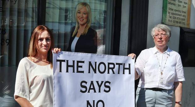 Protesters at the Sinn Fein office in Coalisland
