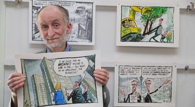 Ian Knox at the launch of his new exhibition Critical Crass (Brian Lawless/PA)