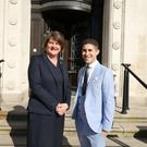 Arlene Foster with Benjamin Cohen, editor-in-chief of PinkNews
