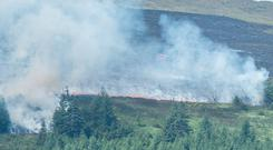 Fire crews led by Group Commander Mark Smyth at the Glenshane Pass, close to the fire in the Sperrin Mountains