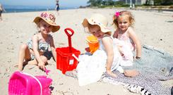 Shore thing: Vivie Vuagniaux, Connie Carnaghan and Marnie Carnaghan, enjoying the weather at Seapark