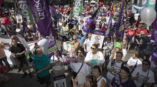 Thousands of health workers, trade unionists and members of the public joined a rally celebrating 70 years of the NHS on Saturday in Belfast