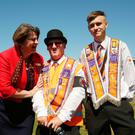 DUP leader Arlene Foster with members of the Orange Order in Cowdenbeath, Fife
