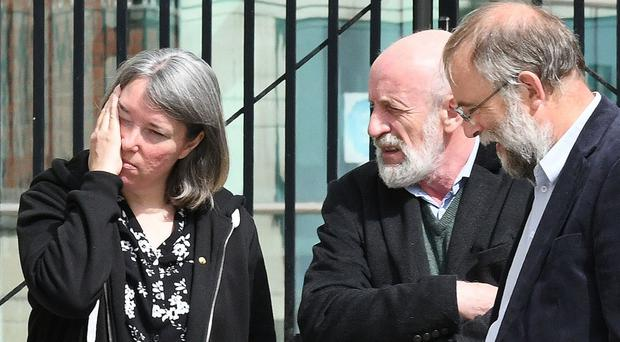 Wendy Little Cawdery with family members outside court