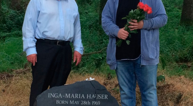 Viktor Leibl (right) lays flowers at the recently erected memorial stone with John Dallat