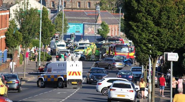 Picture taken with permission from the Twitter feed of @markbtuk of a major road crash on the Crumlin Road in Belfast (@markbtuk/PA)