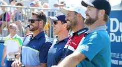 Keith Duffy, Anton du Beke, David Howell and Brian McFadden before the pro-am at Ballyliffin