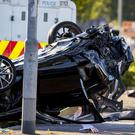 The wreckage caused by the crash on the Crumlin Road in Belfast