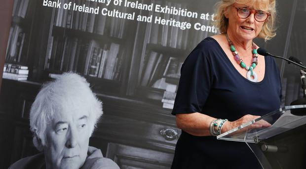 Seamus Heaney's wife Marie at the launch in Dublin of the 'Seamus Heaney: Listen Now Again' exhibition, which draws on the National Library of Ireland's extensive archive of Heaney documents and features original manuscripts, letters, unpublished works, diary entries, photographs and note books