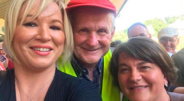 Michael with Michelle O'Neill and Arlene Foster at the Ulster Final