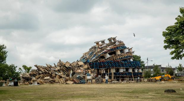 Image showing the collapsed Kilcooley Bonfire in Bangor, just off the Drumhirk Drive. The bonfire collapsed on Friday evening.