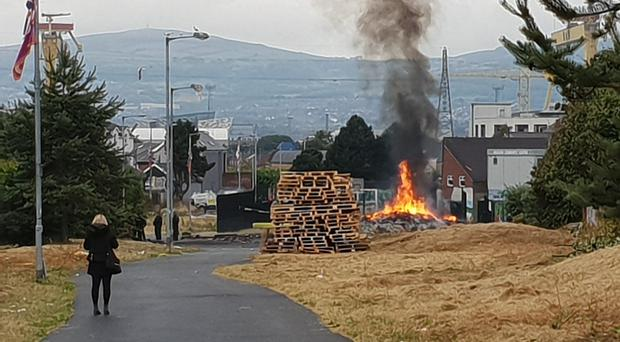 The huge pyre in east Belfast was set alight in the early hours of Wednesday (Rebecca Black/PA)